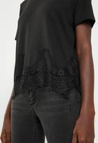 ONLY - Bella lace short sleeve top - black