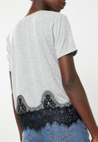 ONLY - Bella lace short sleeve top - grey