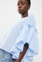 ONLY - Hala big sleeve frill denim top - blue