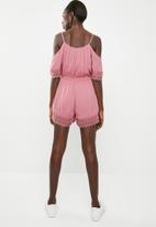 ONLY - Perry cold shoulder playsuit - pink