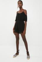 ONLY - Perry cold shoulder playsuit - black