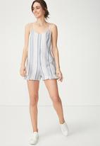 Cotton On - Woven Floral Lily frill playsuit - blue & white