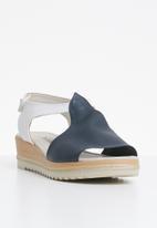 0e17a5f24d4 T-strap leather wedges - navy Phelan Sandals   Flip Flops ...