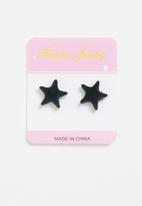 POP CANDY - Star earrings - black