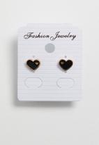 POP CANDY - Heart earrings - rose gold & black