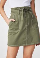 Cotton On - Woven utility twirl mini skirt - khaki
