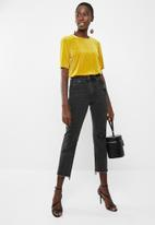 Vero Moda - Ella velvet short sleeve boca top - yellow