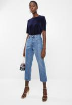 Vero Moda - Ella velvet short sleeve boca top - navy