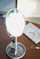 Yamazaki - Tower make up mirror with accessory tray - white