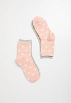 Superbalist - 2 Pack sport sneaker socks - pink & grey