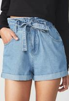 Cotton On - Paperbag shorts - blue