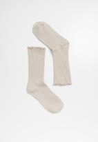 Superbalist - frill ankle socks- beige