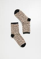 Superbalist - Animal print ankle socks - beige