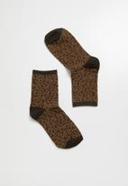 Superbalist - Animal print ankle socks - brown