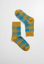 Superbalist - Check ankle socks - yellow