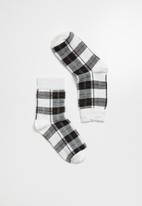 Superbalist - Check ankle socks - white