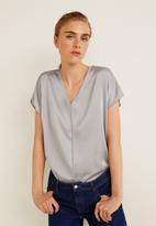 MANGO - Contrasting T-shirt - grey