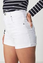 Cotton On - High rise classic stretch denim shorts - white