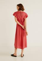MANGO - Ruffled midi dress - pink