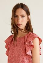 MANGO - Ruffled sleeve blouse - pink