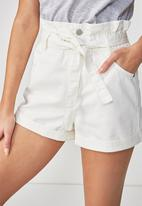 Cotton On - Paper-bag shorts - white