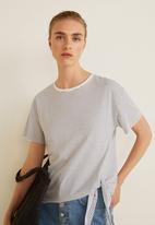 MANGO - Bow detail T-shirt - navy & white