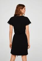 MANGO - Wrap lace detail dress - black