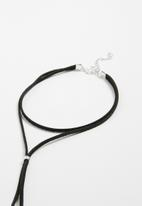 Jewels and Lace - Faux suede wrap choker - black