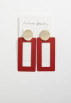 STYLE REPUBLIC - Statement earrings - red & gold