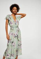 MANGO - Flower print dress - green
