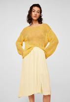 MANGO - Pleated midi skirt - yellow