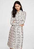 MANGO - Printed shirt dress - off white