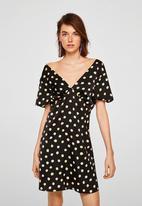 MANGO - Polka-dot dress - black