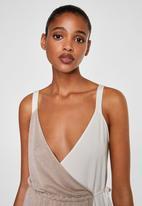 MANGO - Two-tone wrap dress - tan & white