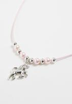 Jewels and Lace - Unicorn necklace - silver & pink