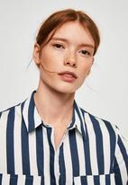 MANGO - Striped soft shirt - navy & white