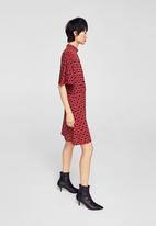 MANGO - Ruched detail dress - maroon