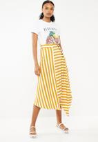 STYLE REPUBLIC - Asymmetrical button detail skirt - white & yellow