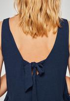 MANGO - Bow linen top - navy