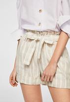 MANGO - Striped shorts - beige