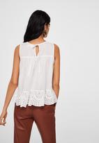 MANGO - Lace detail top - white