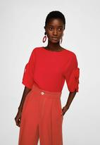 MANGO - Lace flowy blouse - red