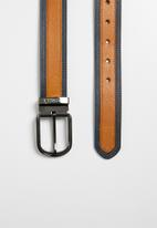 Pringle of Scotland - Jim contrast leather reverse belt - tan
