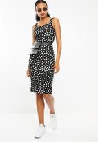 STYLE REPUBLIC - Square neckline bodycon dress - black