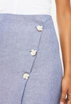 Superbalist - Wrap mini with button detail - blue