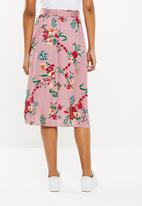 Superbalist - A-line midi skirt with tie belt - pink floral