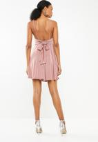 Superbalist - Fit and flare dress with back bow detail - pink