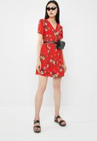 c(inch) - Front button mini dress - red