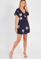 Supré  - Covered button tea dress - navy
