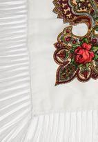 G Couture - Ethnic fringe scarf - white